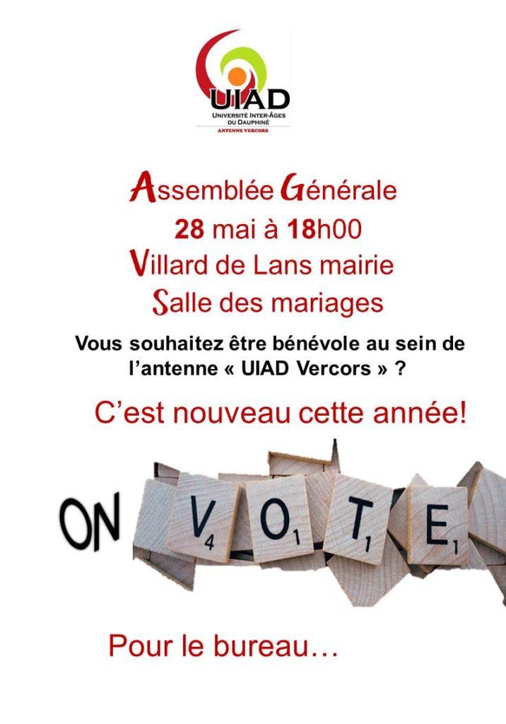 Assemblée Générale le 28 mai 2019 à la salle des mariages, mairie de Villard de Lans