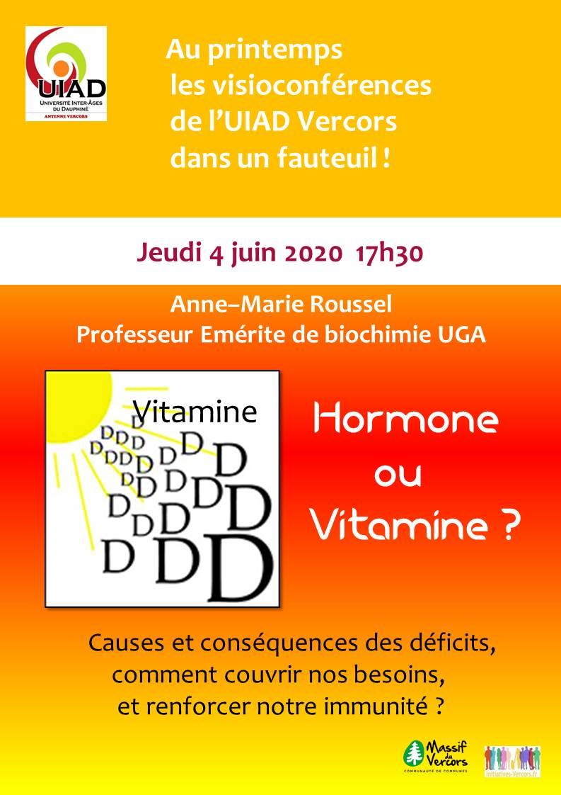 La Vitamine D : Vitamine ou hormone ? Déficits et conséquences. Un vrai problème de Santé Publique